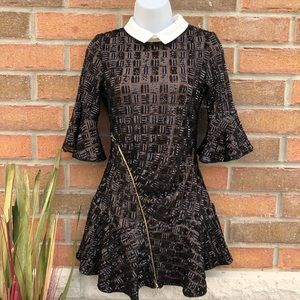 LIKE NEW: Sequins Collared Skater Mini Dress